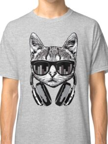 Headphones Cat Equalizer Glasses Classic T-Shirt