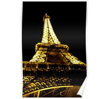 Looking up at Eiffel Tower at Night Poster