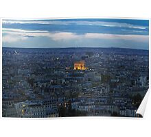 Notre Dame at Night from Eiffel Tower View Poster