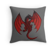Red Clinging Dragon Throw Pillow