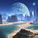 Planet-rise over Alien Beach World by SpinningAngel