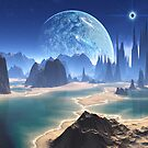 Planet-rise over Alien Beach World by Angela Harburn