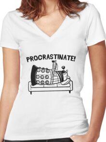 Procrastinate Robot Women's Fitted V-Neck T-Shirt