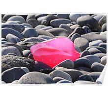 Pink plastic rose on pebble beach Poster