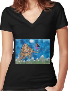 Missy and Elephant fly to the Moon Women's Fitted V-Neck T-Shirt