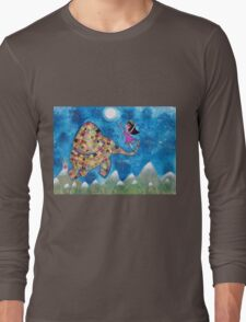 Missy and Elephant fly to the Moon Long Sleeve T-Shirt