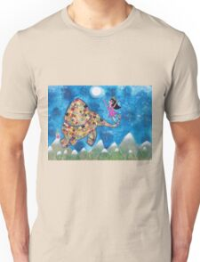 Missy and Elephant fly to the Moon Unisex T-Shirt