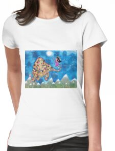 Missy and Elephant fly to the Moon Womens Fitted T-Shirt