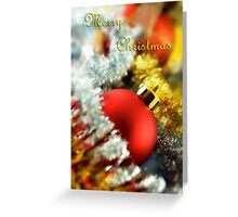 Christmas card with red bauble Greeting Card