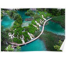 Turquoise-green paradise. Plitvice lakes  Poster