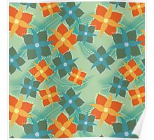 Squared Flowers Poster