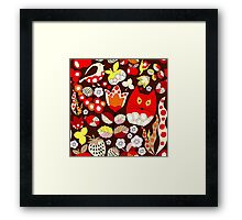 cartoon red cat Framed Print