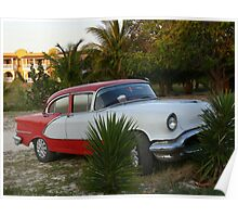 An old car abandoned on the beach, Cuba Poster