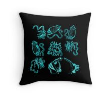 Glowing Bacterial Art - Deep Sea Diner Throw Pillow
