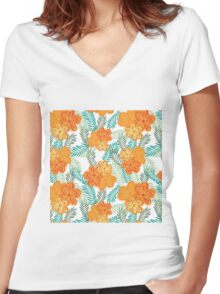 Brush Flower Women's Fitted V-Neck T-Shirt