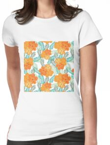 Brush Flower Womens Fitted T-Shirt