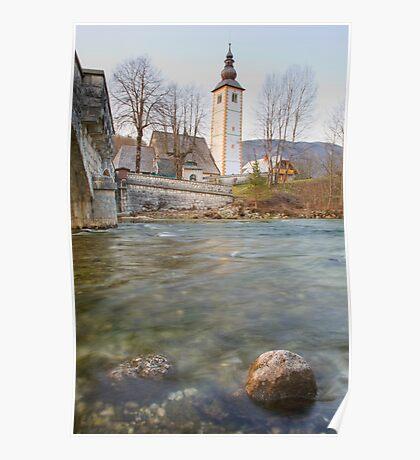Lake Bohinj as it flows under the bridge Poster