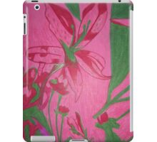 Retro flowers with a pink background iPad Case/Skin