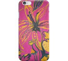 Retro flowers with a dark pink background iPhone Case/Skin