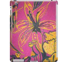 Retro flowers with a dark pink background iPad Case/Skin