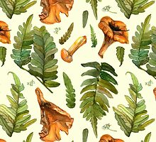 Green fern leaves and chanterelle mushrooms by stasia-ch