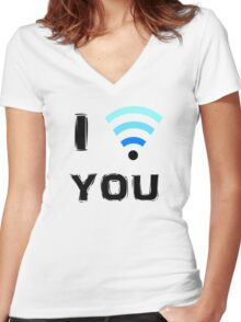 I WI-FI YOU Women's Fitted V-Neck T-Shirt
