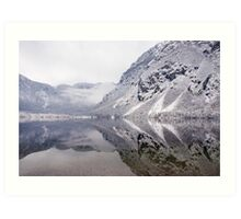 Icy mountain reflections Art Print