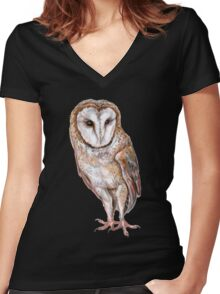 Barn owl drawing Women's Fitted V-Neck T-Shirt
