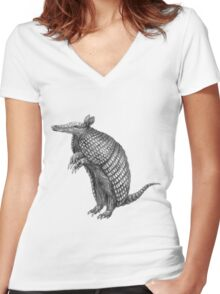 Pencil drawn armadillo Women's Fitted V-Neck T-Shirt