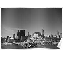 Chicago Skyline and Buckingham Fountain Poster