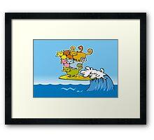 cat surfing Framed Print