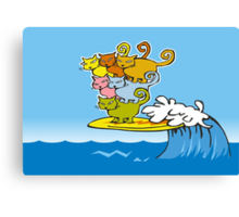 cat surfing Canvas Print