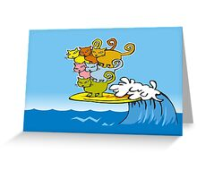 cat surfing Greeting Card