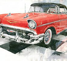 Red Chevrolet 1957 by Yuriy Shevchuk