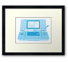 handheld computer game system in blue Framed Print