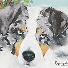 Rowdy - Australian Shepherd Greeting card by Barbara Applegate