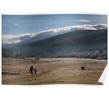 Snowy Mountains Cowboy & Daughter Poster