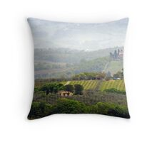 Misty Morning, Tuscany Throw Pillow