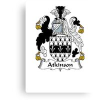 Coat of arms (family crest) for last-name or surname Atkinson . Heraldry banner for your name. Canvas Print