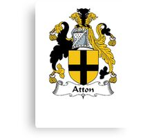 Coat of arms (family crest) for last-name or surname Atton . Heraldry banner for your name. Canvas Print