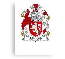 Coat of arms (family crest) for last-name or surname Atwood . Heraldry banner for your name. Canvas Print