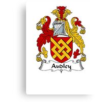 Coat of arms (family crest) for last-name or surname Audley . Heraldry banner for your name. Canvas Print