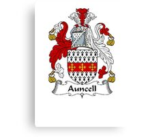 Coat of arms (family crest) for last-name or surname Auncell . Heraldry banner for your name. Canvas Print