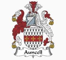 Coat of arms (family crest) for last-name or surname Auncell . Heraldry banner for your name. by rita24