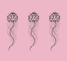 Pastel Pink Jellyfish Mandala by inklingsbyellie