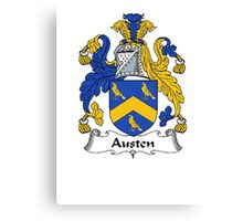 Coat of arms (family crest) for last-name or surname Austen . Heraldry banner for your name. Canvas Print
