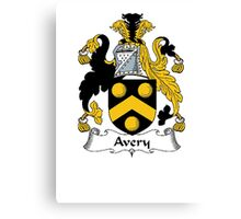 Coat of arms (family crest) for last-name or surname Avery . Heraldry banner for your name. Canvas Print