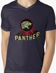 Panther Motorcycle Logo Mens V-Neck T-Shirt