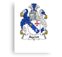 Coat of arms (family crest) for last-name or surname Ayerst . Heraldry banner for your name. Canvas Print