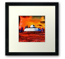 UFO On Ancient Planet by Raphael Terra Framed Print